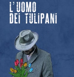 copertina uomo dei tulipani - Uomo con cappello e impermiabile con mazzo di tulipani